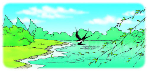 停着几支黑色的小燕子……那真是一幅美得让人窒息的图画