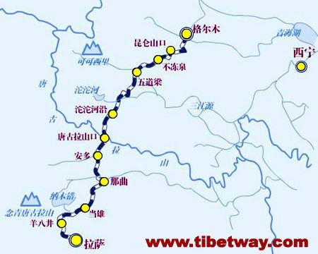 青藏铁路线路图及沿途站点