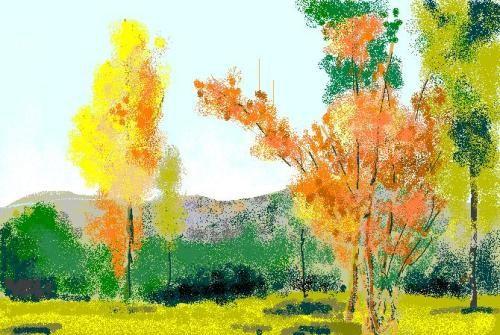 树木彩铅画手绘