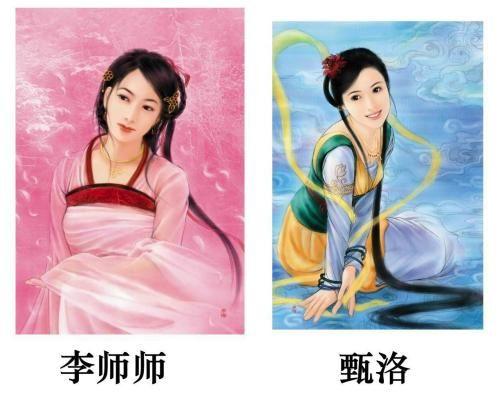 古代美女和皇帝手绘