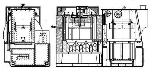 密封箱式多用炉的基本结构     该炉由于采用卧式箱型结构和密封淬火